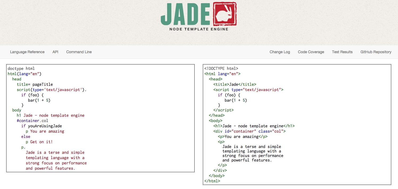 Jade templating language