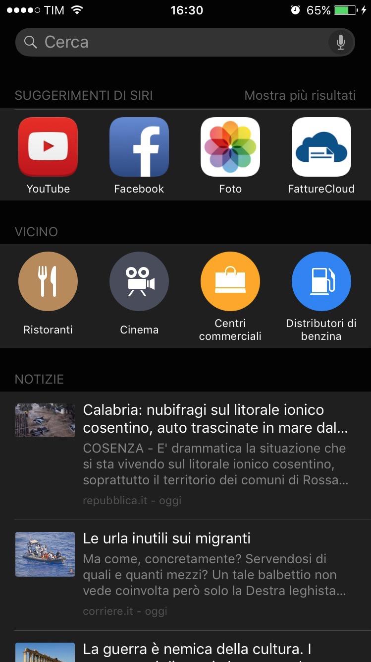 La schermata dei suggerimenti di Proactive