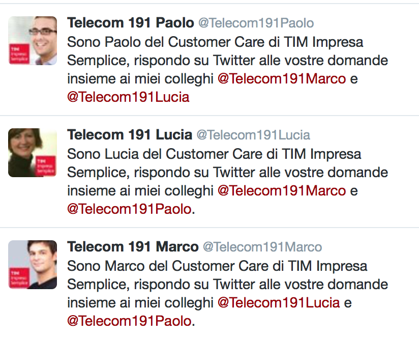 Telecom 191 Paolo, Telecom 191 Lucia, Telecom 191 Marco, TIM_IS, TIM Impresa Semplice, Data Driven UX